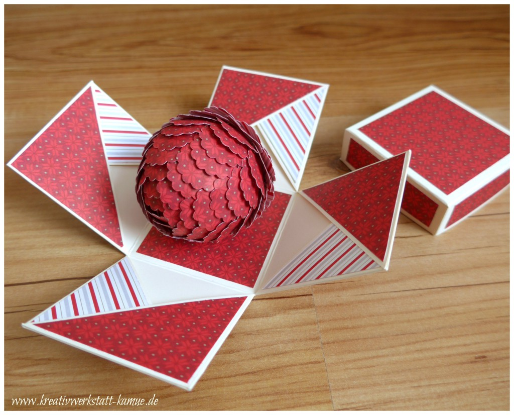 stampin up Explosionsbox pine cone