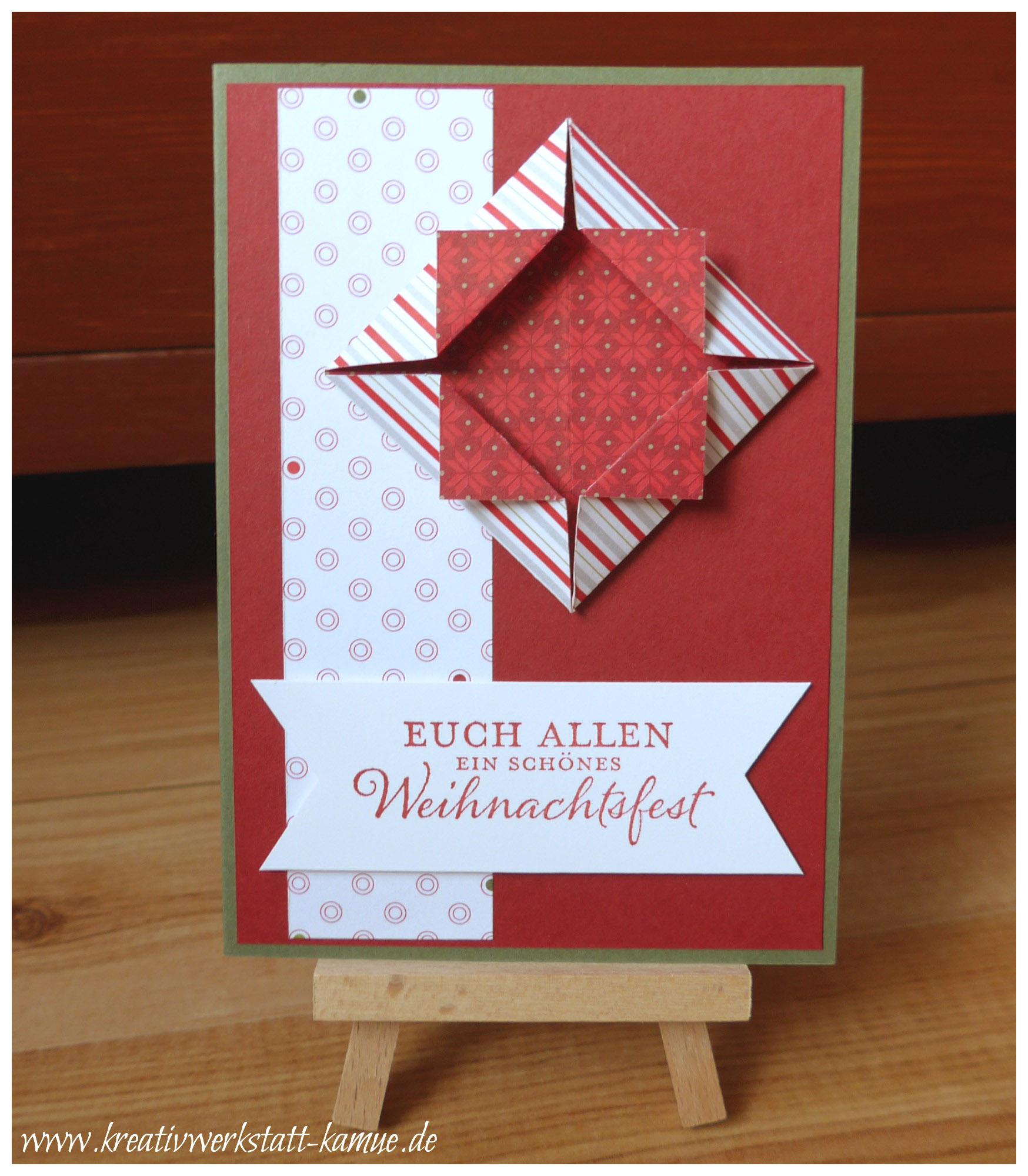 Weihnachtskarten Origami.Weihnachtskarte Mit Origami Shadow Box Kreativwerkstatt