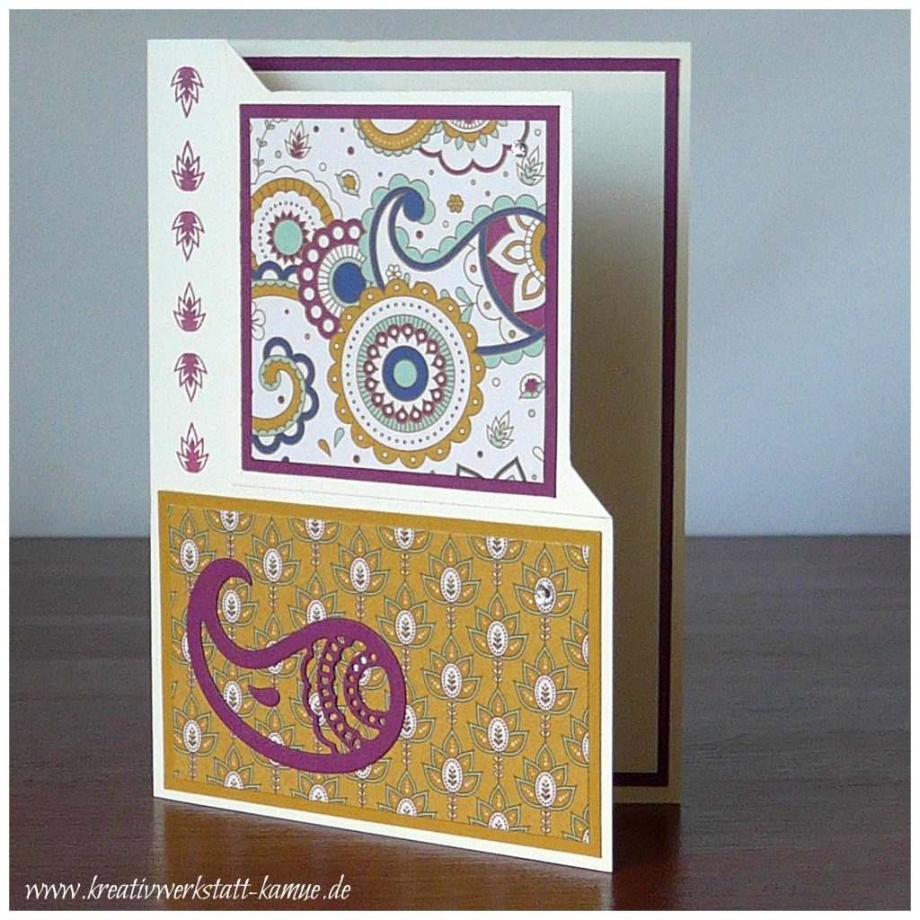 stampin up paisleys posies corner fold card